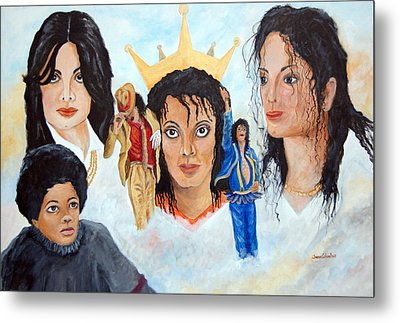 Michael Jackson-faces Metal Print by Janna Columbus