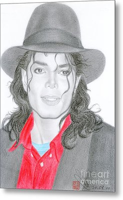 Metal Print featuring the drawing Michael Jackson #nine by Eliza Lo