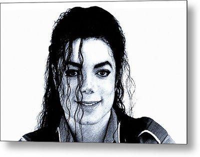 Metal Print featuring the drawing Michael Jackson Pencil Drawing  by Movie Poster Prints