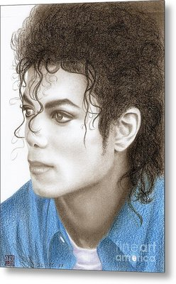 Metal Print featuring the drawing Michael Jackson #ten by Eliza Lo