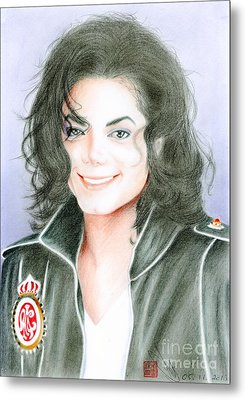 Metal Print featuring the drawing Michael Jackson #twelve by Eliza Lo