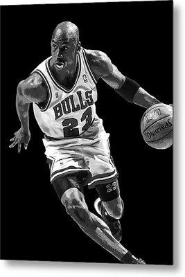 Michael Jordan Drives To The Basket Metal Print