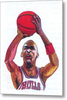 Metal Print featuring the painting Michael Jordan by Emmanuel Baliyanga