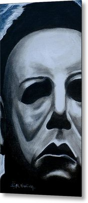 Metal Print featuring the painting Michael Myers Up Close And Personal by Al  Molina
