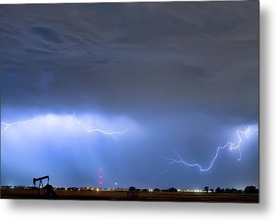 Metal Print featuring the photograph Michelangelo Lightning Strikes Oil by James BO Insogna