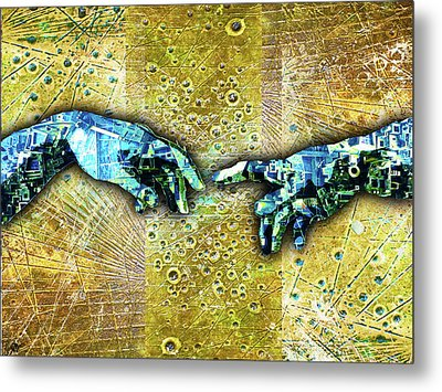 Metal Print featuring the mixed media Michelangelo's Creation Of Man by Tony Rubino