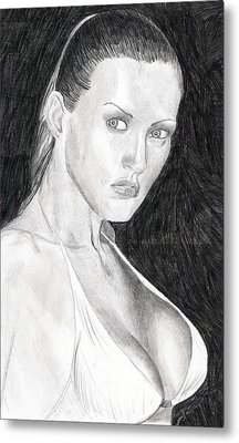 Metal Print featuring the drawing Michelle by Michael McKenzie
