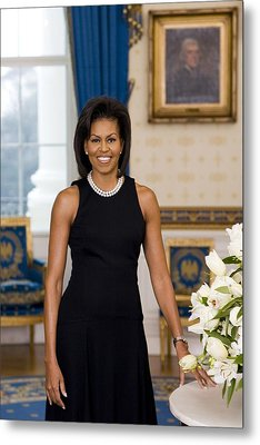 Michelle Obama 1964-, In Her Official Metal Print by Everett