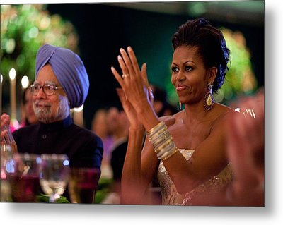 Michelle Obama Applauds Metal Print by Everett