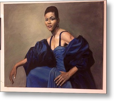 Michelle Obama, Oil On Canvas, Blue Dress Metal Print