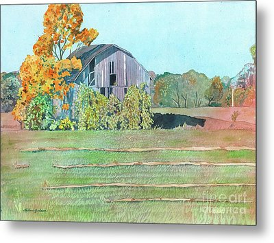 Metal Print featuring the painting Michigan Autumn Barn by LeAnne Sowa
