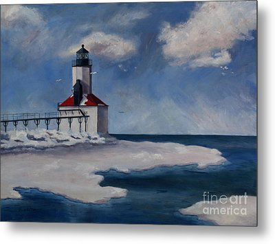 Michigan City Light Metal Print by Brenda Thour