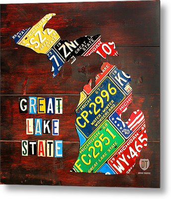 Michigan License Plate Map Metal Print by Design Turnpike