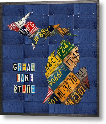 Michigan License Plate Map Great Lake State With Vintage Blue Plate Background Edition Metal Print by Design Turnpike