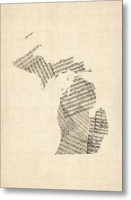 Michigan Map, Old Sheet Music Map Metal Print