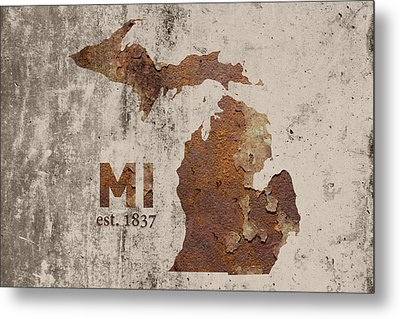 Michigan State Map Industrial Rusted Metal On Cement Wall With Founding Date Series 005 Metal Print by Design Turnpike