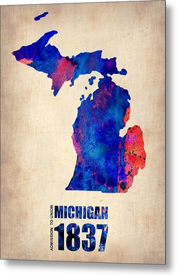 Michigan Watercolor Map Metal Print by Naxart Studio