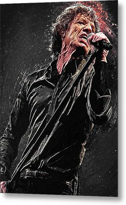 Metal Print featuring the digital art Mick Jagger by Taylan Apukovska