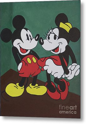 Mickey And Minnie Metal Print
