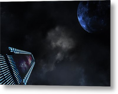 Micro Chips In Outer Space On The Way To Planets Metal Print by Christian Lagereek
