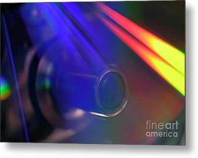 Microscope Lens And Light Beams Metal Print by Sami Sarkis