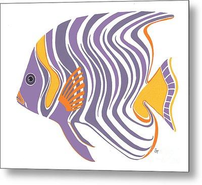 Mid Century Purple Fish Metal Print by Stephanie Troxell