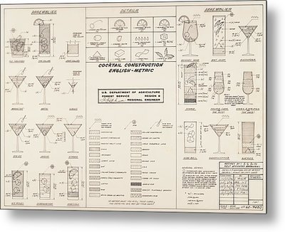 Mid Century Retro Vintage Cocktail Construction Chart Metal Print by Kathy Hunt