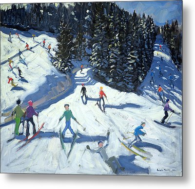Mid-morning On The Piste Metal Print by Andrew Macara