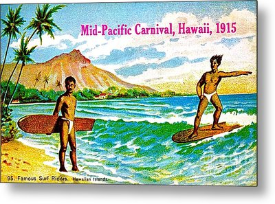 Mid Pacific Carnival Hawaii Surfing 1915 Metal Print