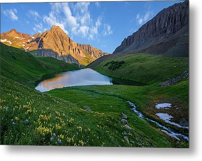Metal Print featuring the photograph Middle Blue Lake Sunrise by Aaron Spong