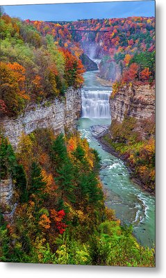 Middle Falls Of Letchworth State Park Metal Print by Mark Papke