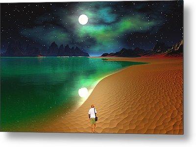 Midnight Beach Walk - Sea Of Cortezz Metal Print by David Jackson