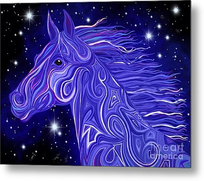 Metal Print featuring the drawing Midnight Blue Mustang by Nick Gustafson