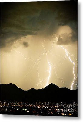 Midnight Lightning Storm Metal Print
