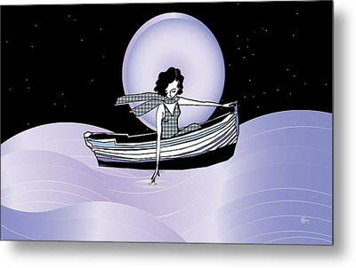 Midnight Moonlit Sail Metal Print