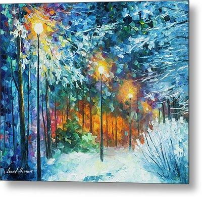 Midnight Snow Songs  Metal Print by Leonid Afremov