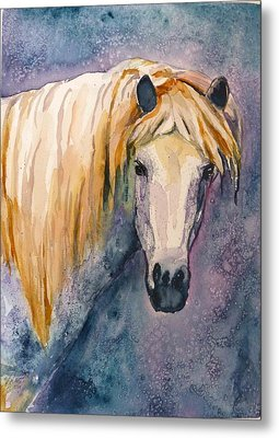 Metal Print featuring the painting Midnight Stallion by P Maure Bausch