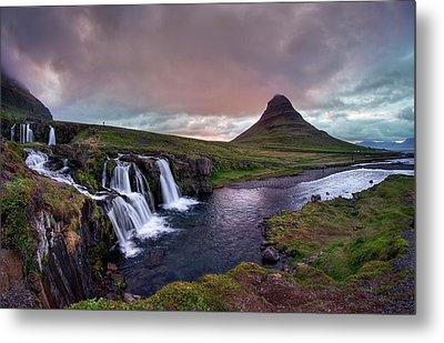 Metal Print featuring the photograph Midnight Sunset At Kirkjufellsfoss by Peter Thoeny