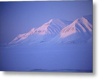 Midnight Sunset On Polar Mountains Metal Print