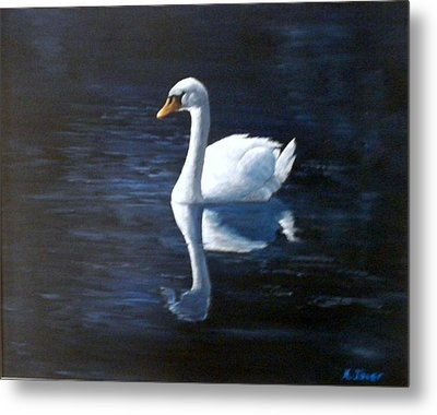 Midnight Swan Metal Print
