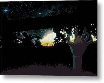 Midnight Zombie In The Garden Of Grapes  Metal Print by ARTography by Pamela Smale Williams