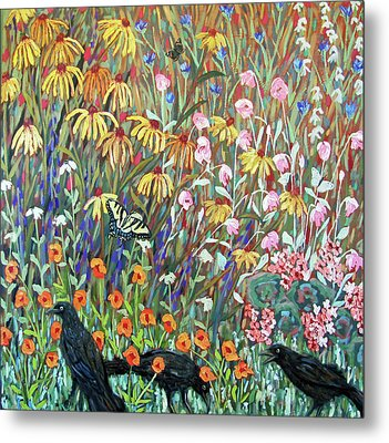 Metal Print featuring the painting Midsummer Enchantment- Diptych Side B by Susan  Spohn