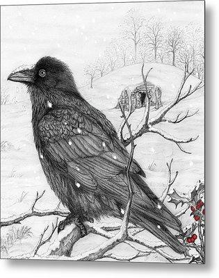 Midwinter Raven Metal Print by Philip Harvey