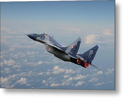 Metal Print featuring the digital art Mig 29 - Polish Fulcrum Dedication by Pat Speirs