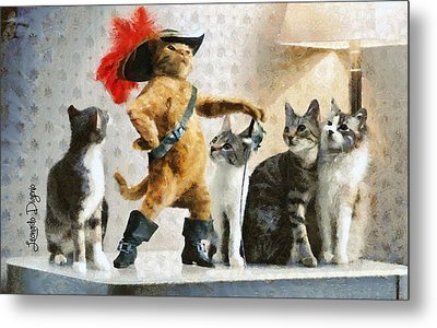 Mighty Cat With Boots Metal Print by Leonardo Digenio