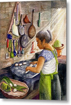 Mika, The Tamale Maker Metal Print by Marilyn Smith