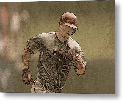 Mike Trout Anaheim Angels Painting Metal Print