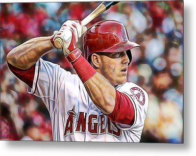 Mike Trout Baseball Metal Print by Marvin Blaine