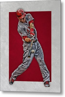 Mike Trout Los Angeles Angels Art 1 Metal Print by Joe Hamilton