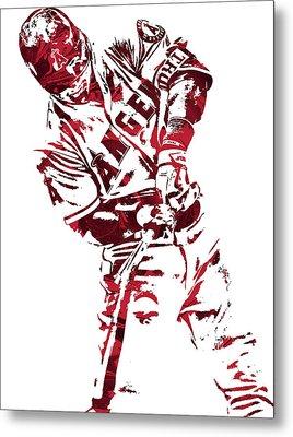 Mike Trout Los Angeles Angels Pixel Art 5 Metal Print